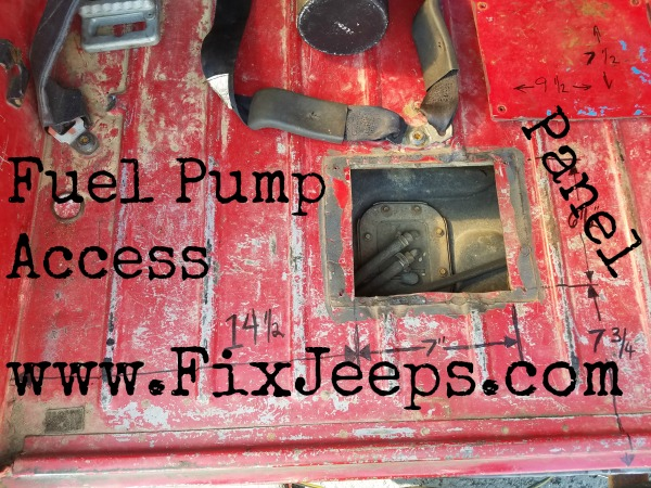 Jeep Wrangler YJ Fuel Pump access plate