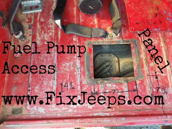 Jeep Wrangler YJ Fuel Pump access plate