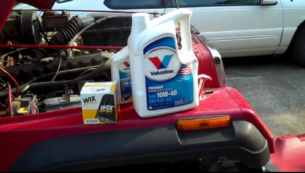 Cheap oil change in a Jeep Wrangler