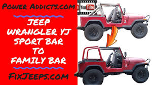 Jeep Wrangler YJ Sport roll bar to Family Roll bar.